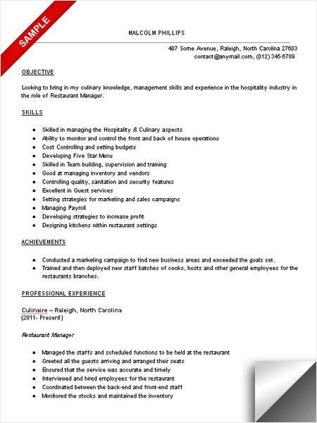 sample resume objectives for hrm ojt restaurant manager sample