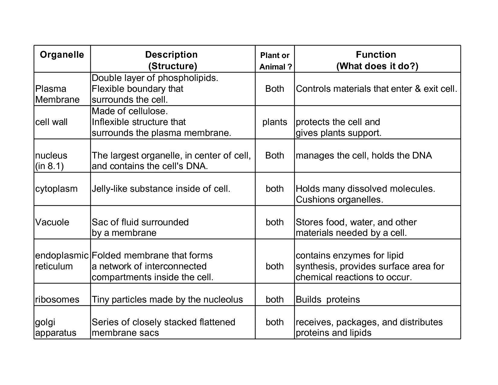 Cellular Organelle Structure And Function Essay Sample