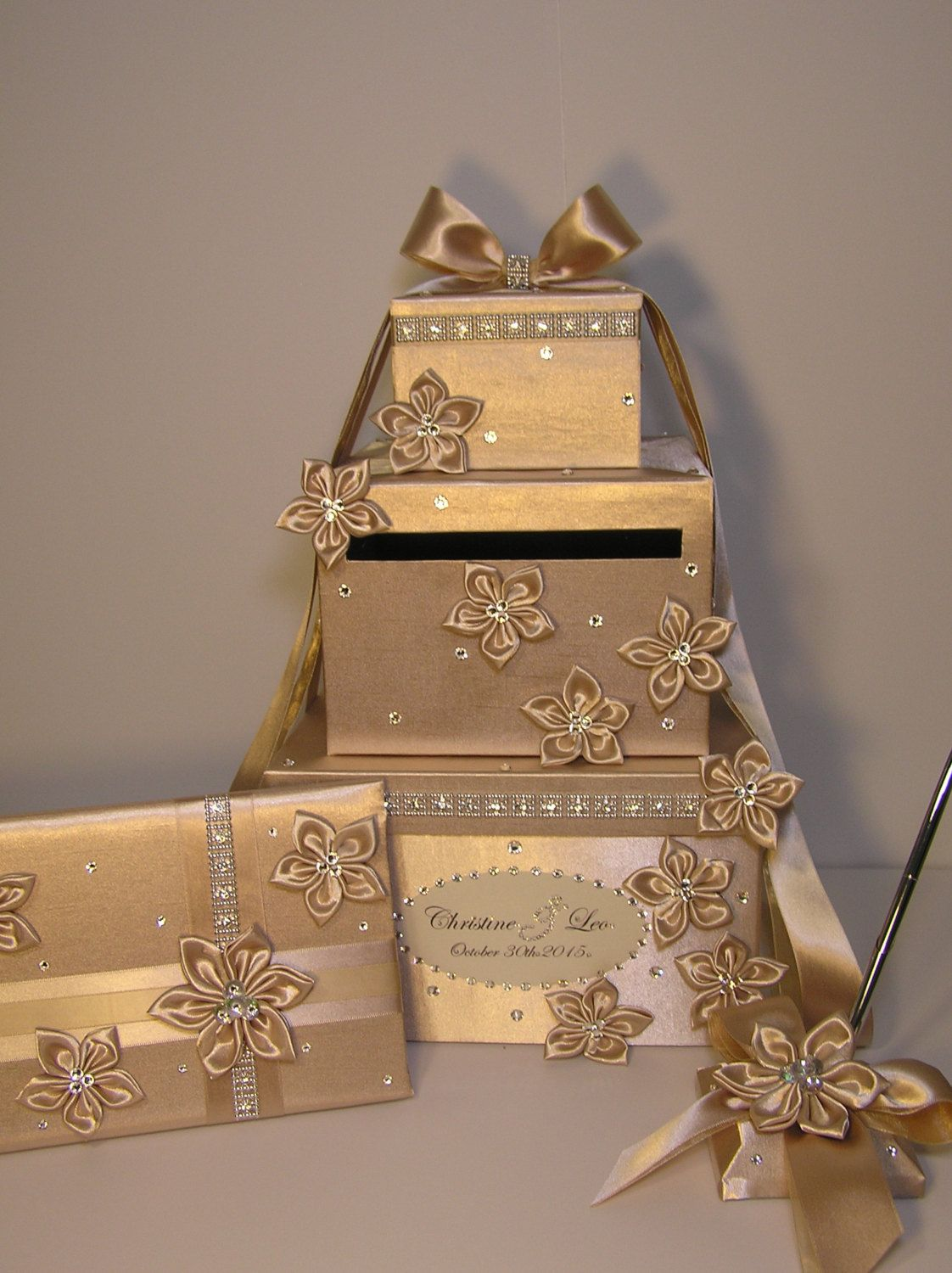4 Sets 3 tier Champagne Wedding Card Box Guest book and