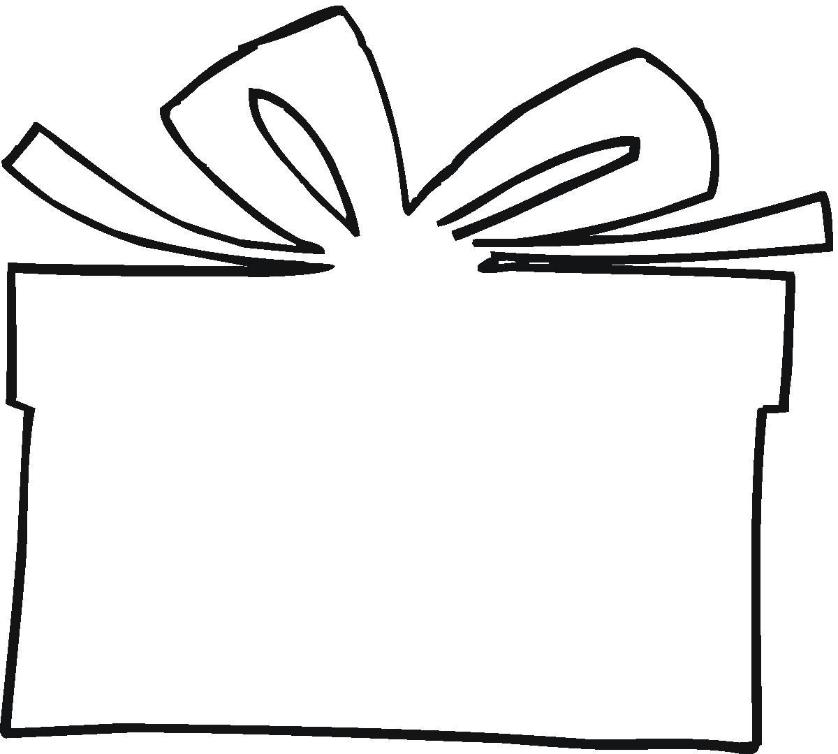 Christmas Present Outline Clipart 1