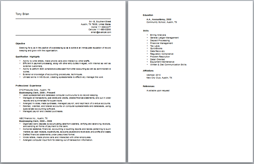 Bookkeeper Resumes Examples. Cover Letter Bookkeeping Resume