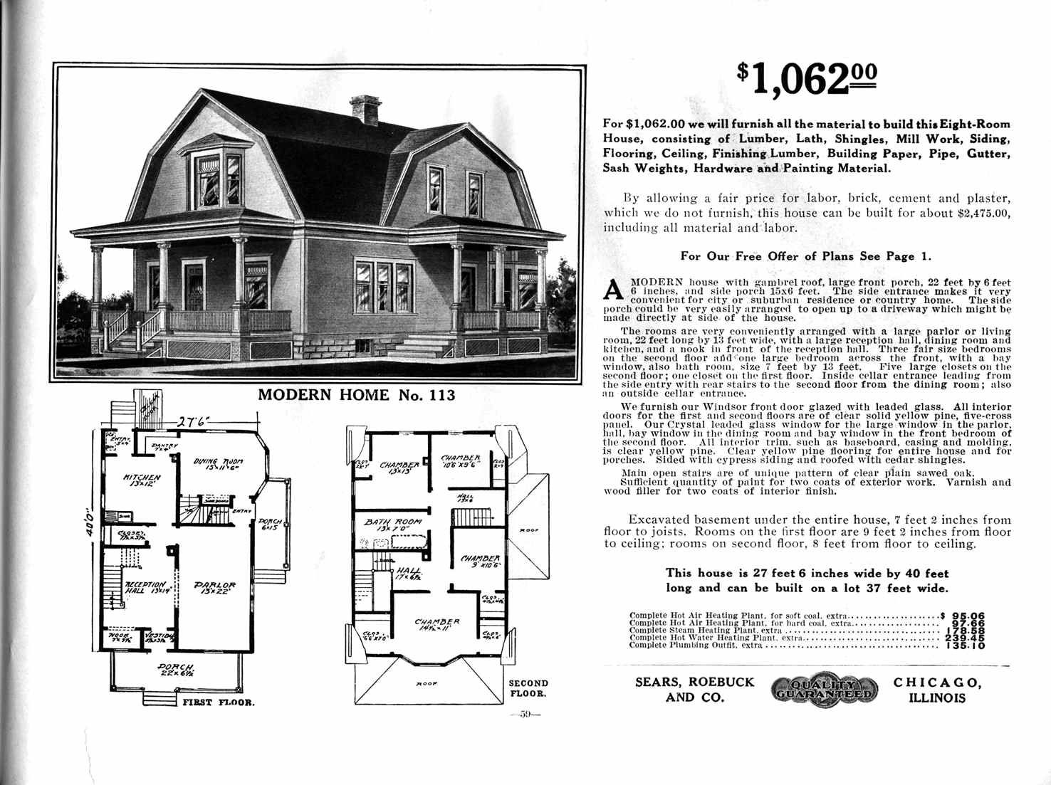 Sears Home Model No 113 1 062 To 1 270