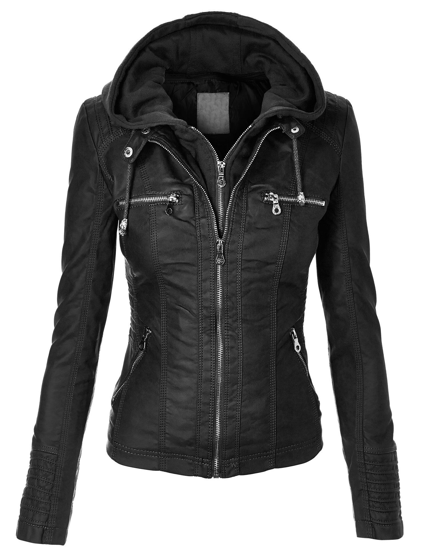 MBJ Womens Faux Leather Zip Up Moto Biker Jacket With