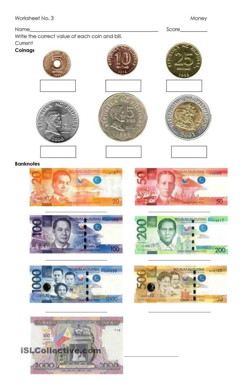 Money Philippine Coins and Bills class ideas