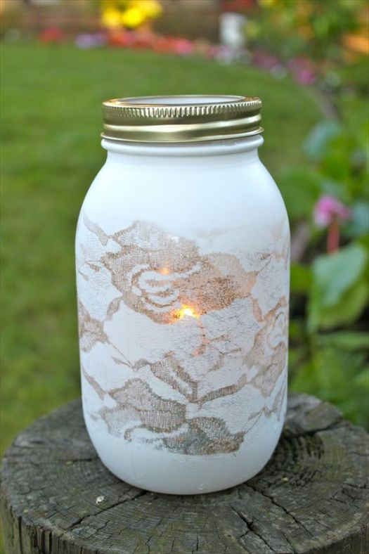 Lace Covered Mason Jars Paint Cover In Doilies Add A Votive