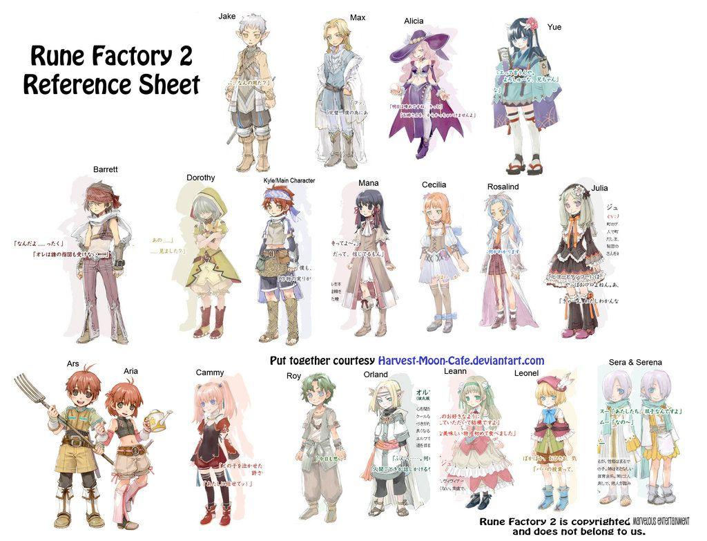 Rune Factory 2 Characters