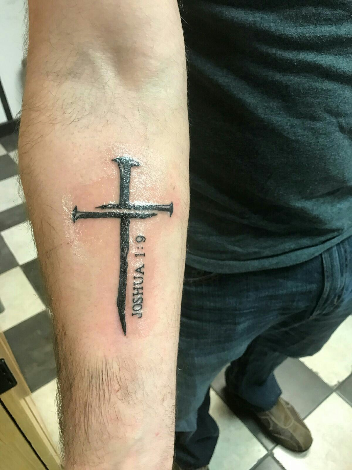 My nail cross tattoo with Joshua 19 ink Pinterest