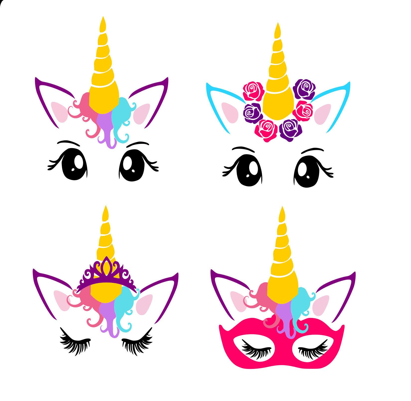 Unicorn Faces pdf,png & SVG, DXF cut file, Printable