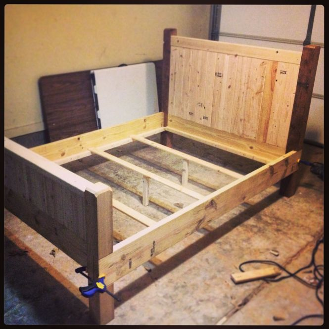 Diy Full Size Bed Frame Almost Finished Made With 2x4s 2x8s And 4x4