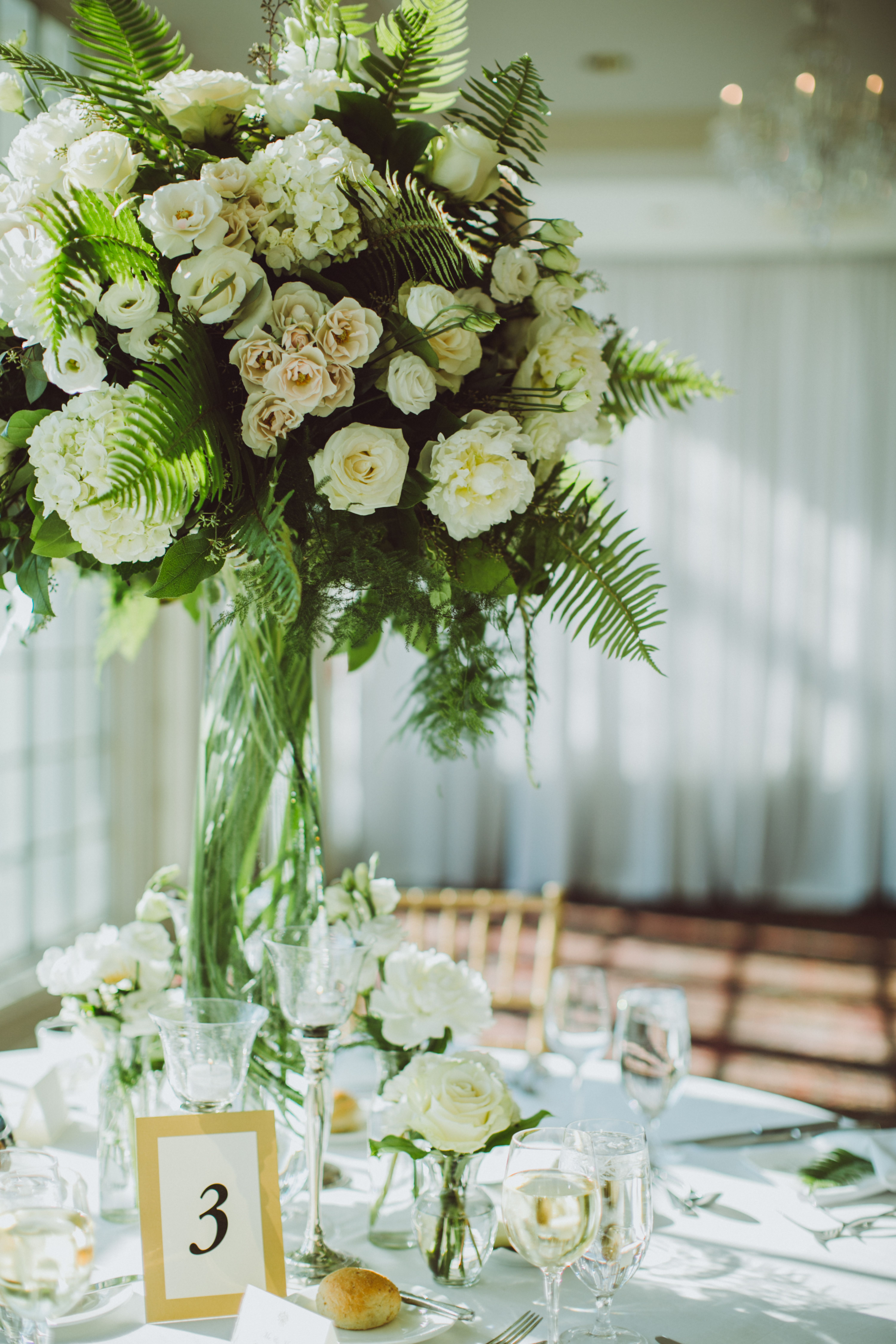 Tall, Natural Lisianthus and Greenery Centerpiece
