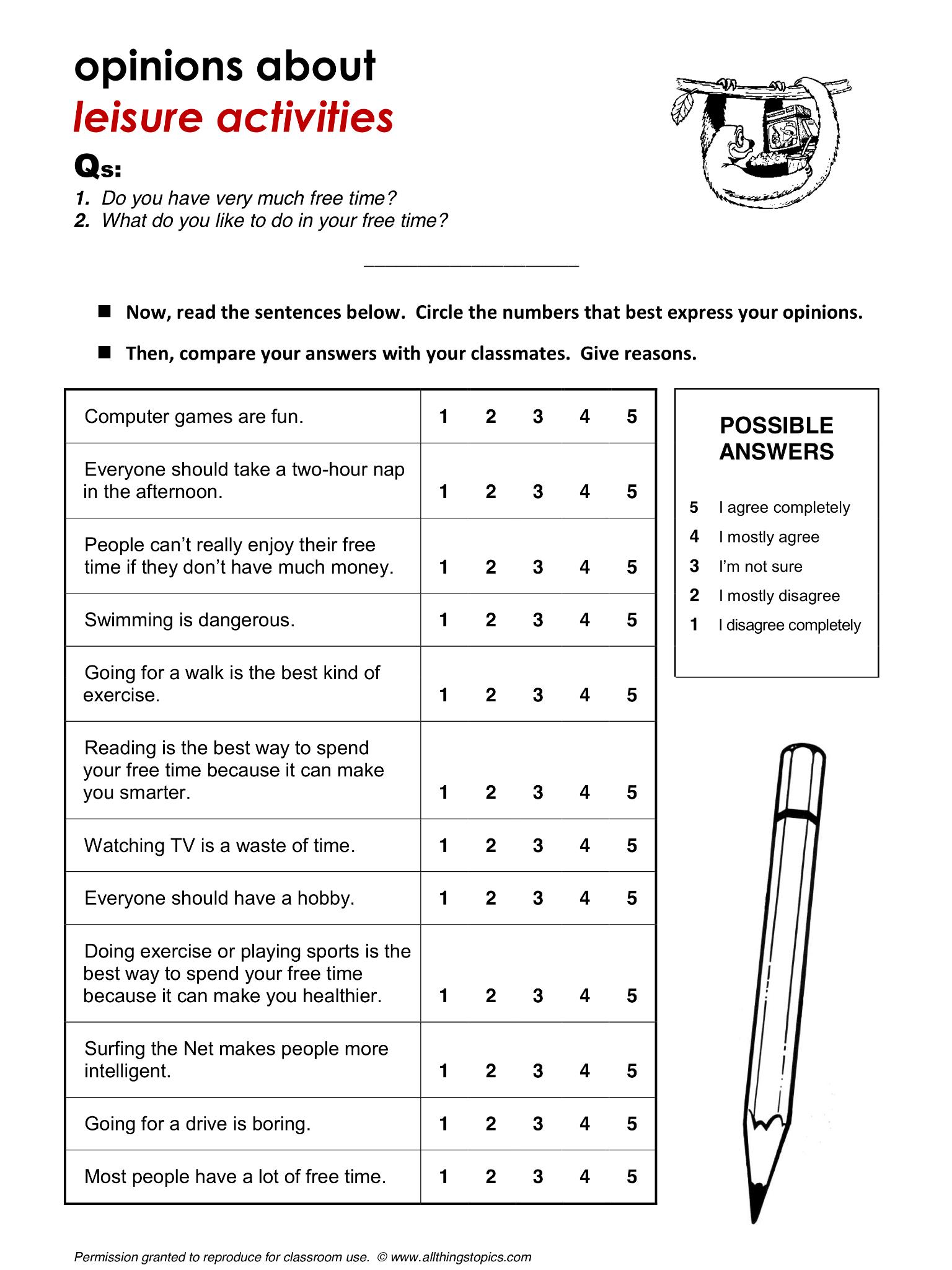 Leisure Activities English Learning English Vocabulary