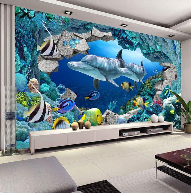 Wall Mural Underwater World Photo Wallpaper Interior Art Decoration Dolphin Kids Bedroom Tv Background