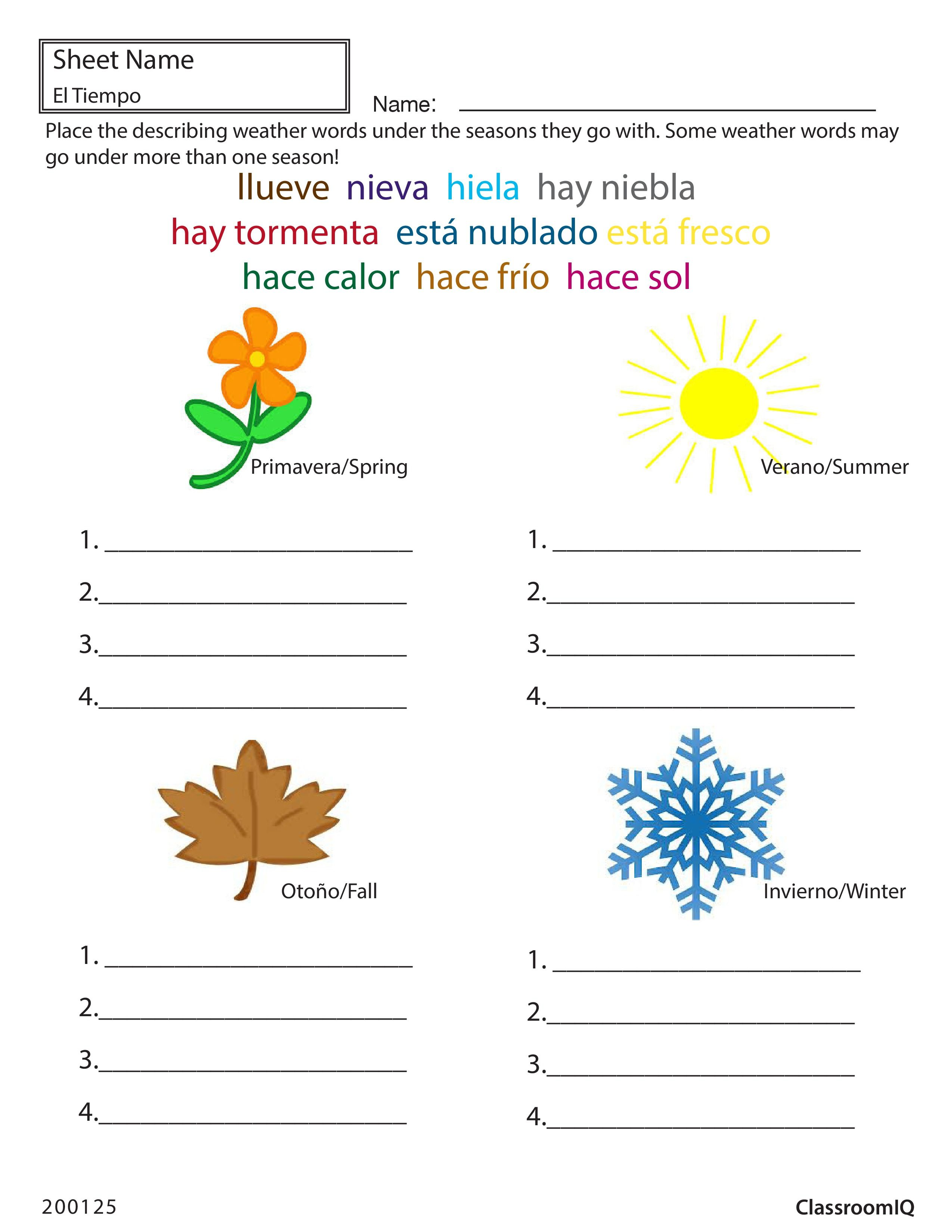 Weather And Seasons In Spanish Spanishworksheets