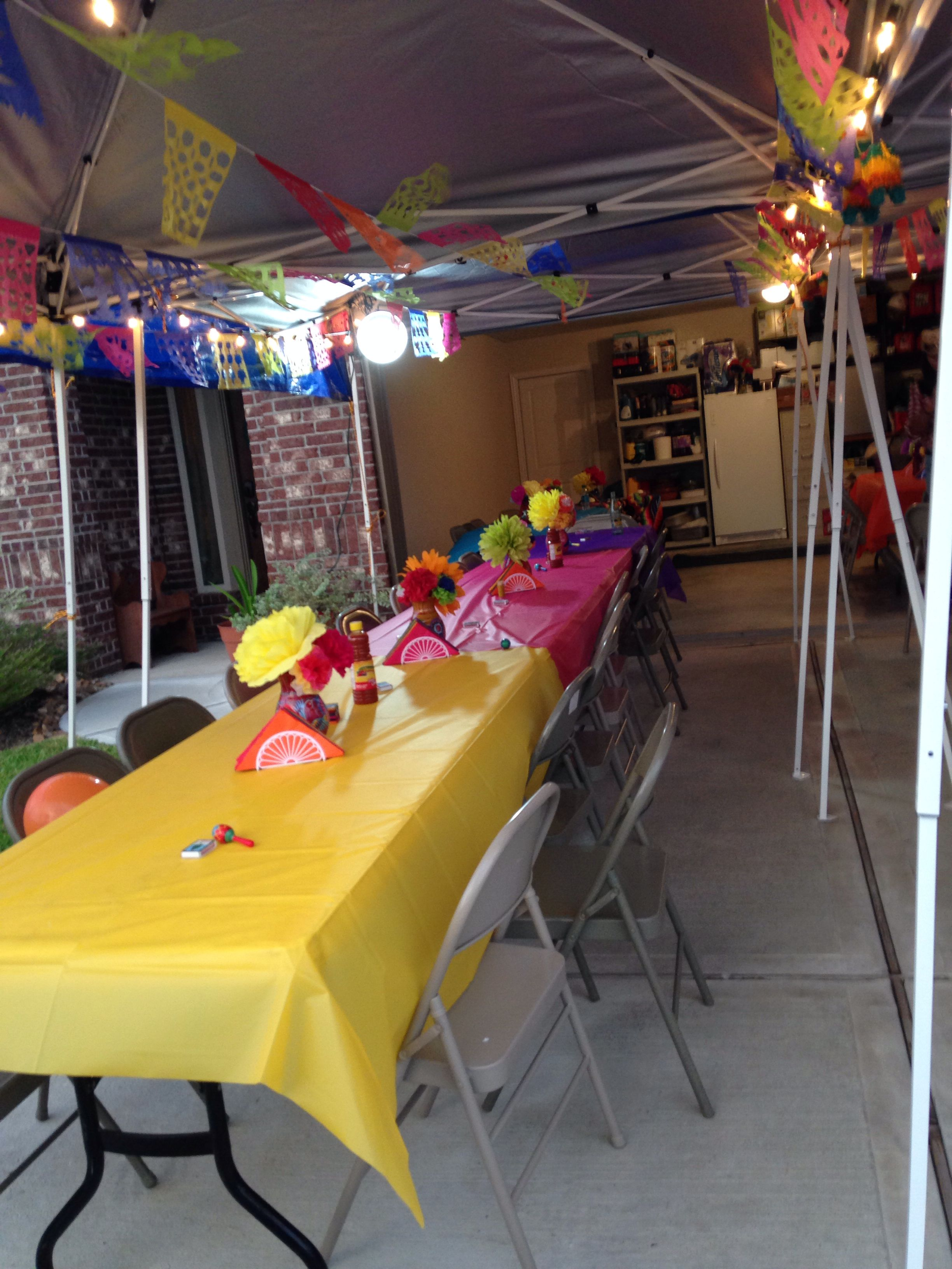 Mexican theme 50th birthday party. back yard party ideas