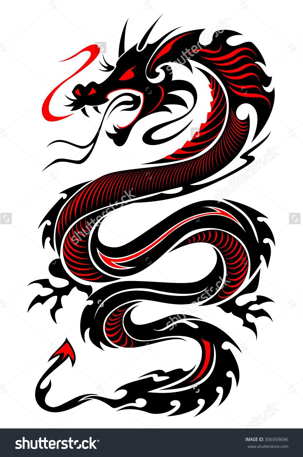 Flaming Tribal Dragon Tattoo Vector Illustration In Black