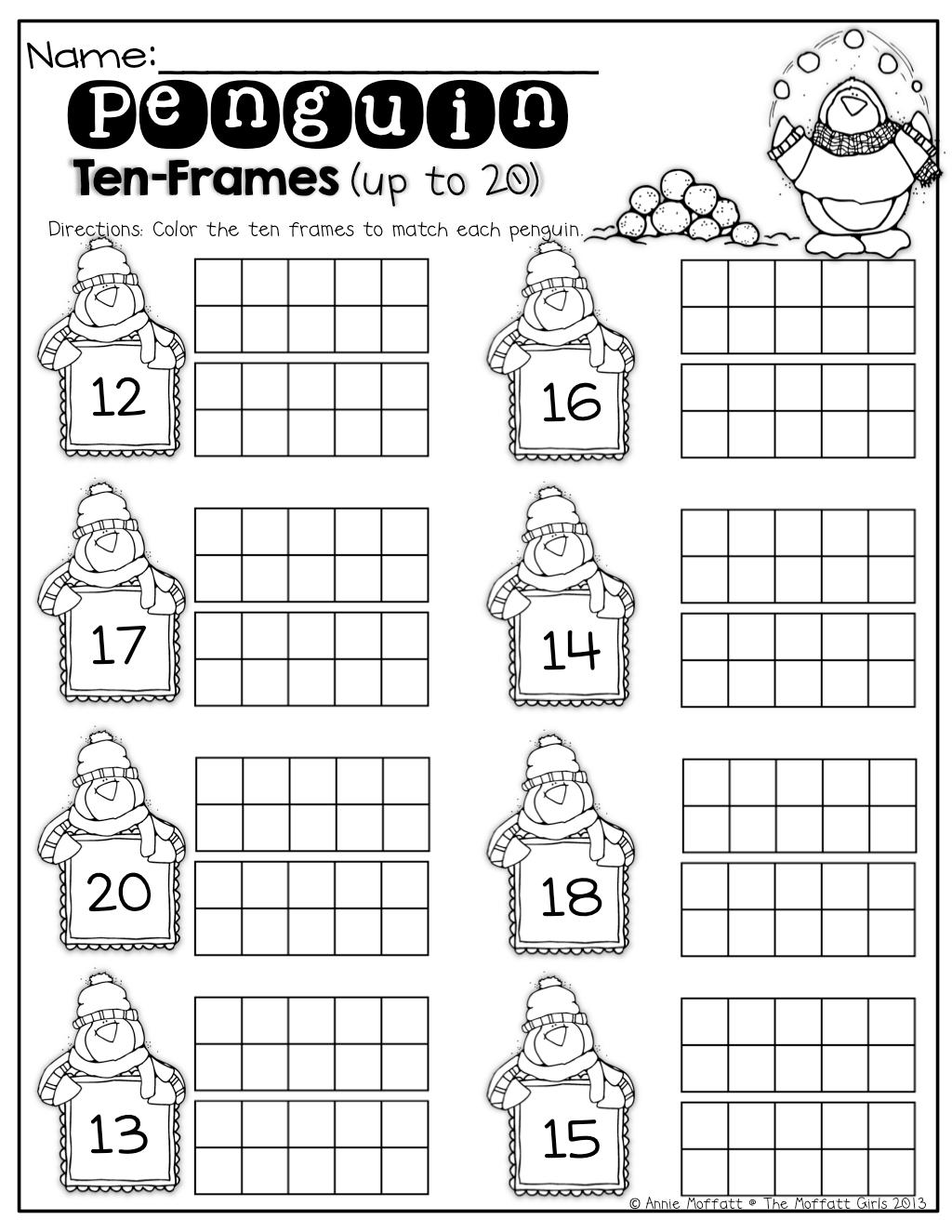 Ten Frame Teen Numbers Worksheet For Kindergarten