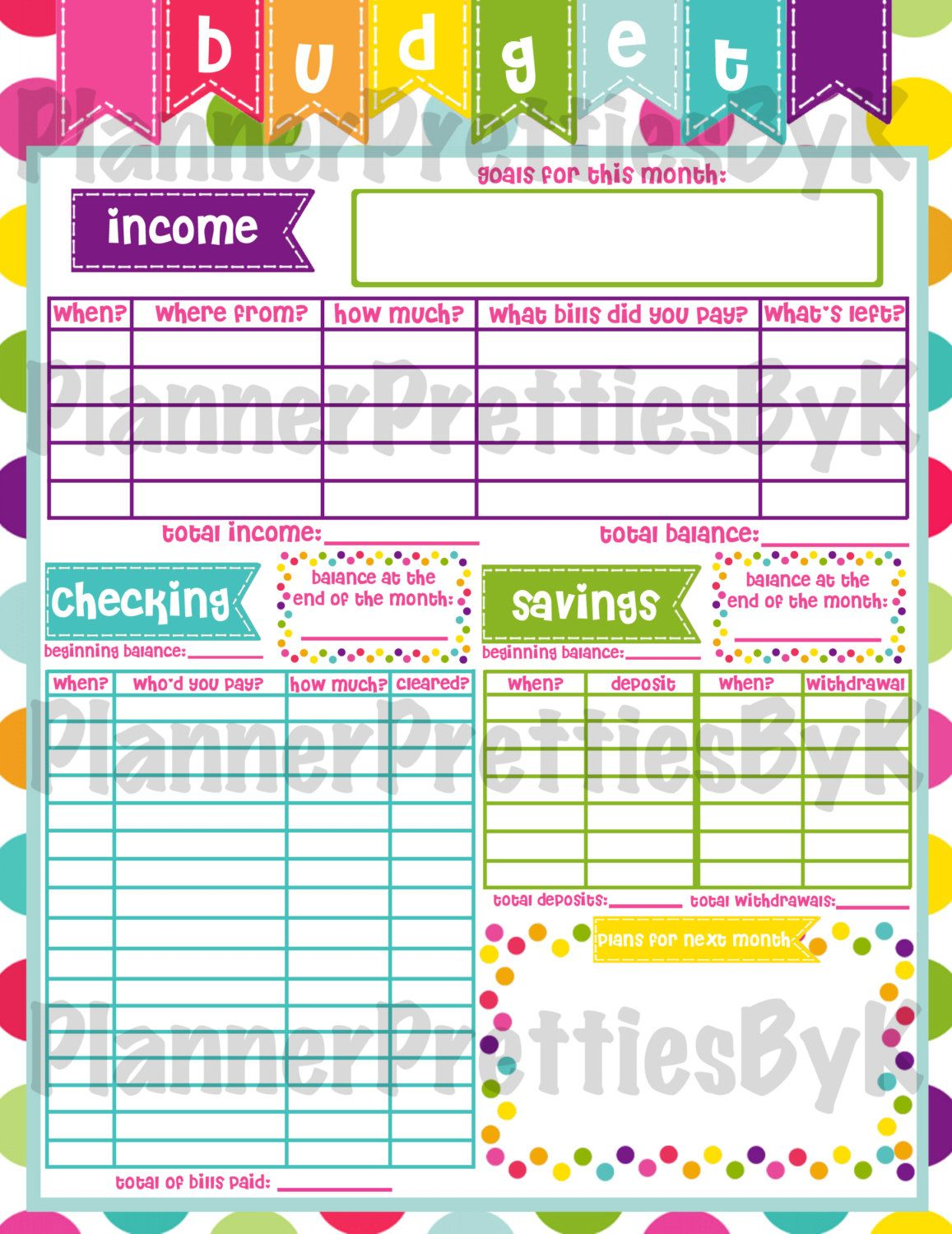 Printable Monthly Budget For Erin By Plannerprettiesbyk On Etsy
