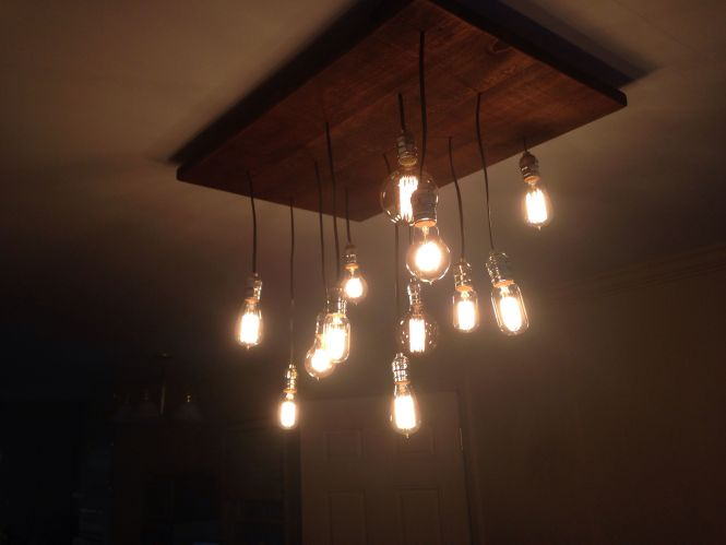 Diy Rustic Chandelier With Edison Light Bulbs Blissfullybuilt