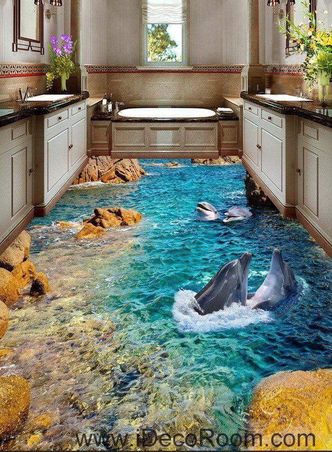 Dophin Bay Rocks 00069 Floor Decals 3D Wallpaper Wall