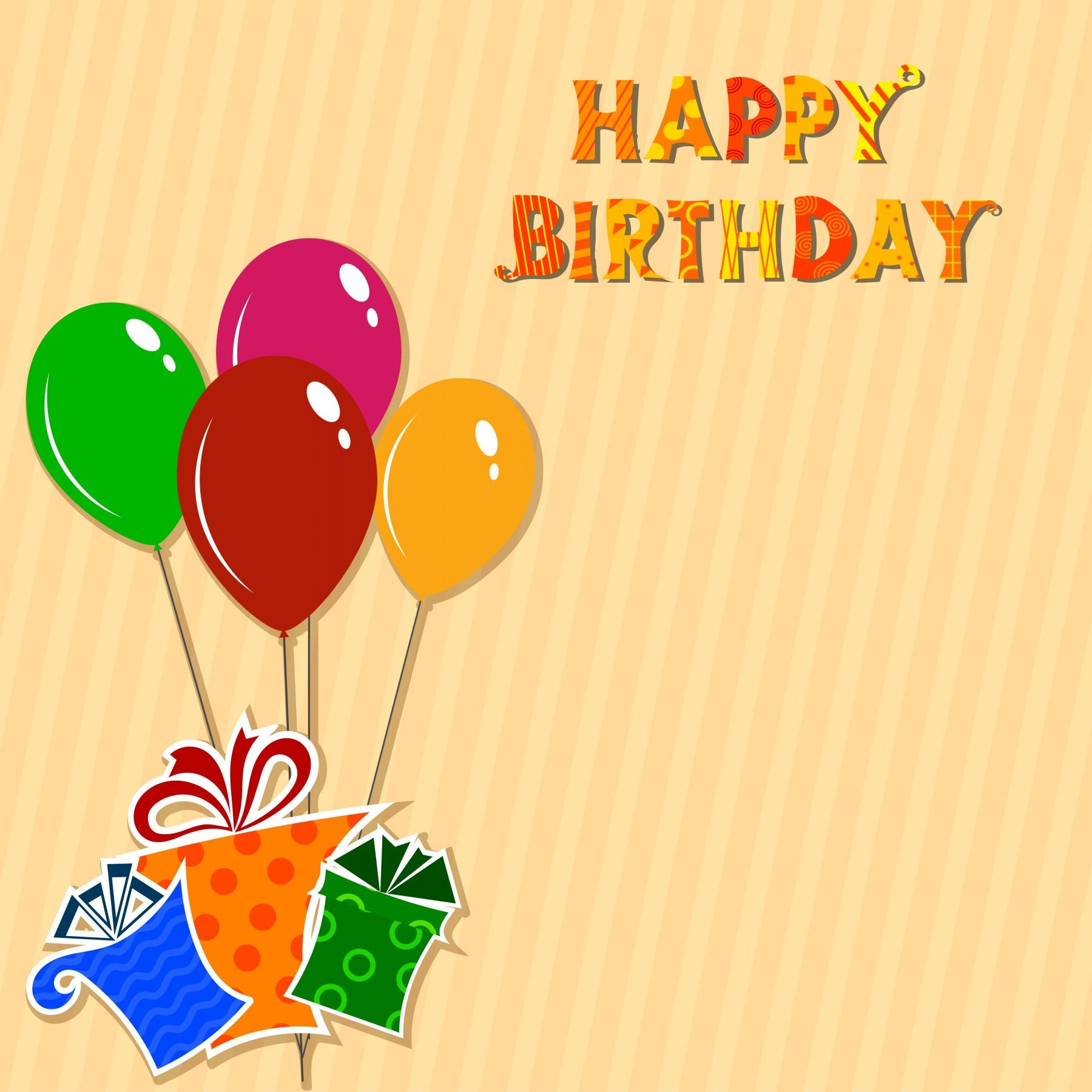 Striped background with balloons and gifts birthday