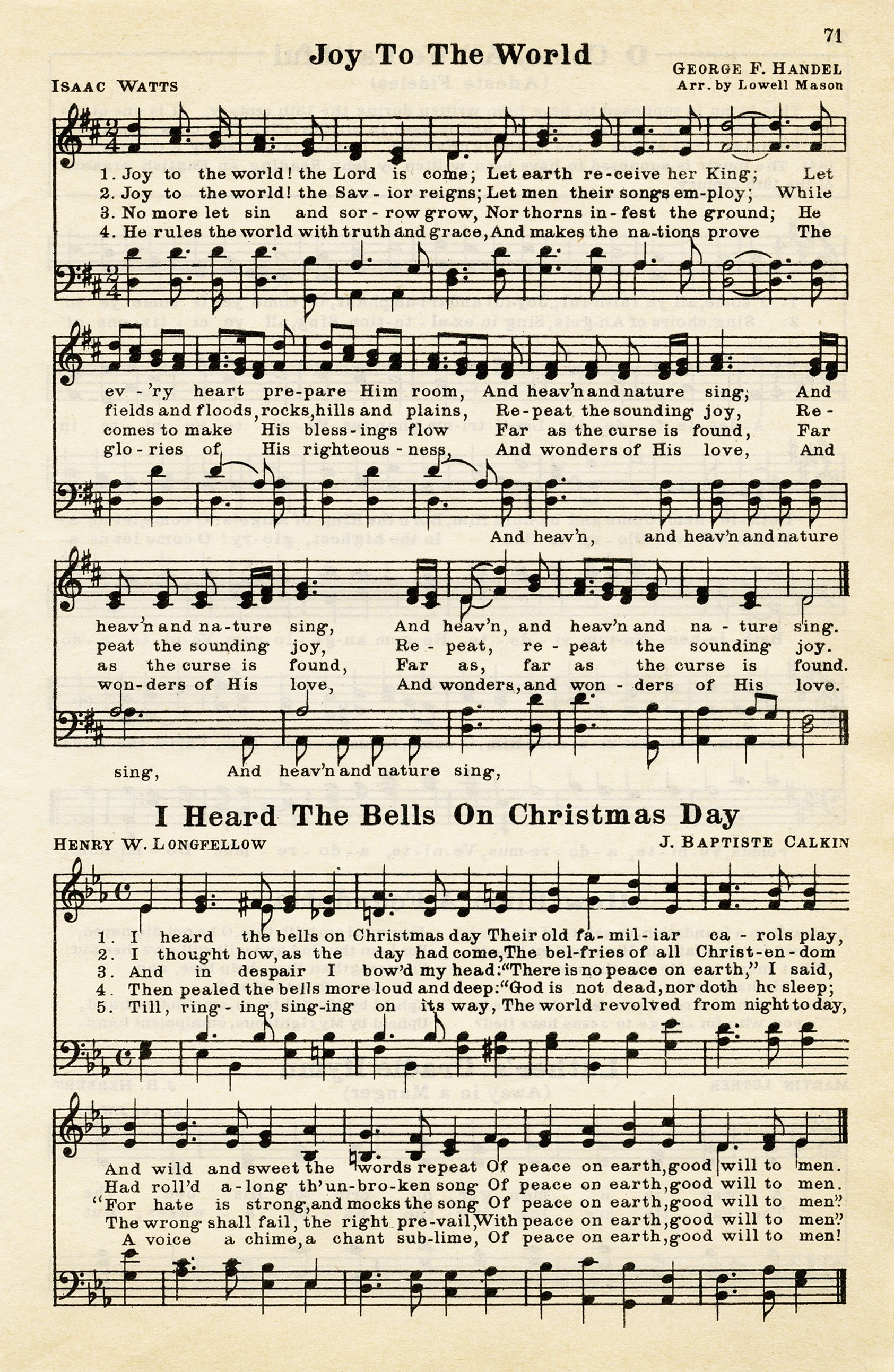 joy to the world, heard the bells on christmas day
