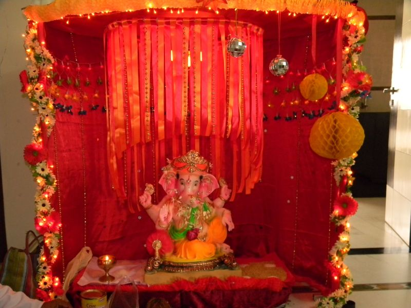 Mirror Honeycomb And Flower Decor On My Favourite Festival Ganesh