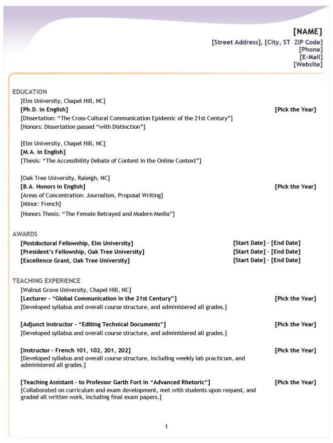 Correct Resume Format - Resume Sample