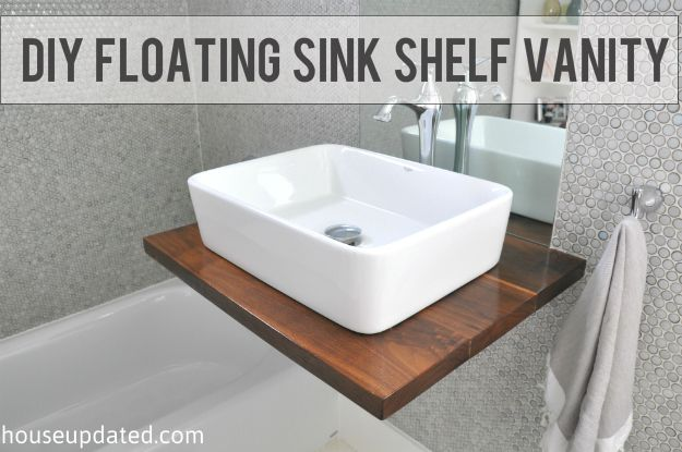 Floating Wood Console With Vessel Sink