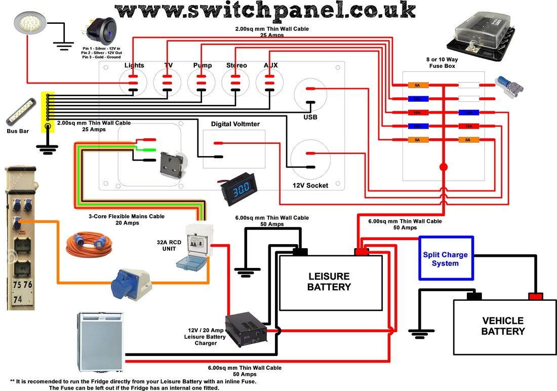 12V/ 240V Camper Wiring Diagram T5 Interior Pinterest