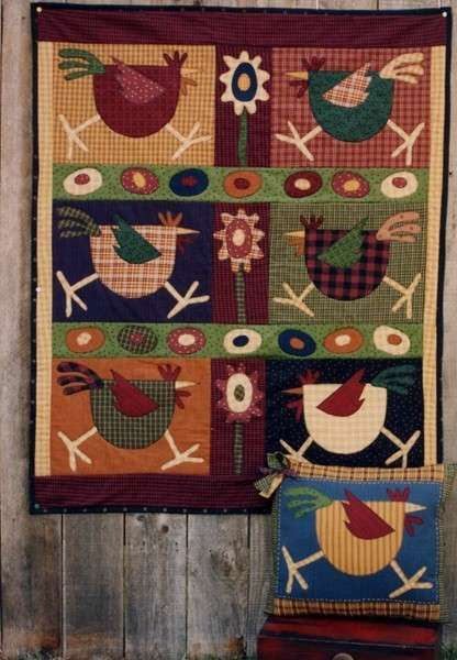 Pattern Spring Chickens By Memes Quilts 40 X 48 Applique And Piecing Spring Chicken