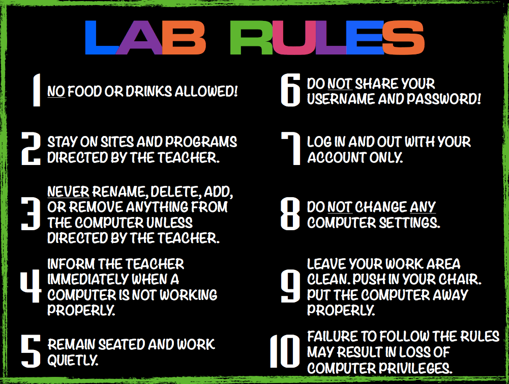 Computer Lab Rules Technology Education Pinterest