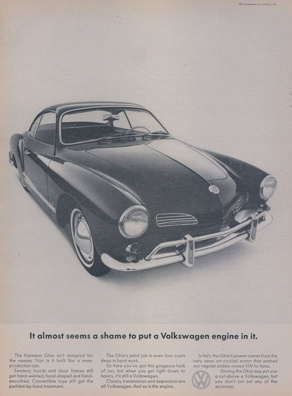 1965 Volkswagen Karmann Ghia VW Car Ad Vintage by AdVintageCom     1965 Volkswagen Karmann Ghia VW Car Ad Vintage by AdVintageCom