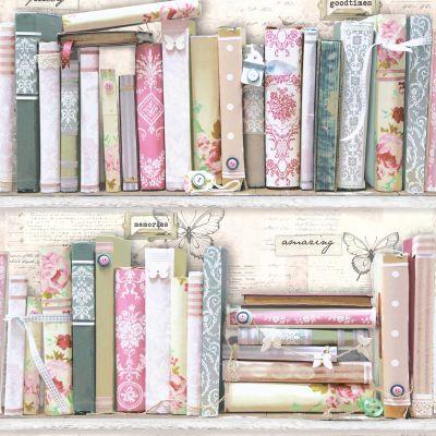 Graham & Brown Fresco Pink Collage Bookcase Wallpaper ...