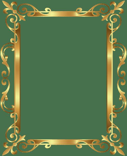 Gold Border Frame Deco Transparent Clip Art Image