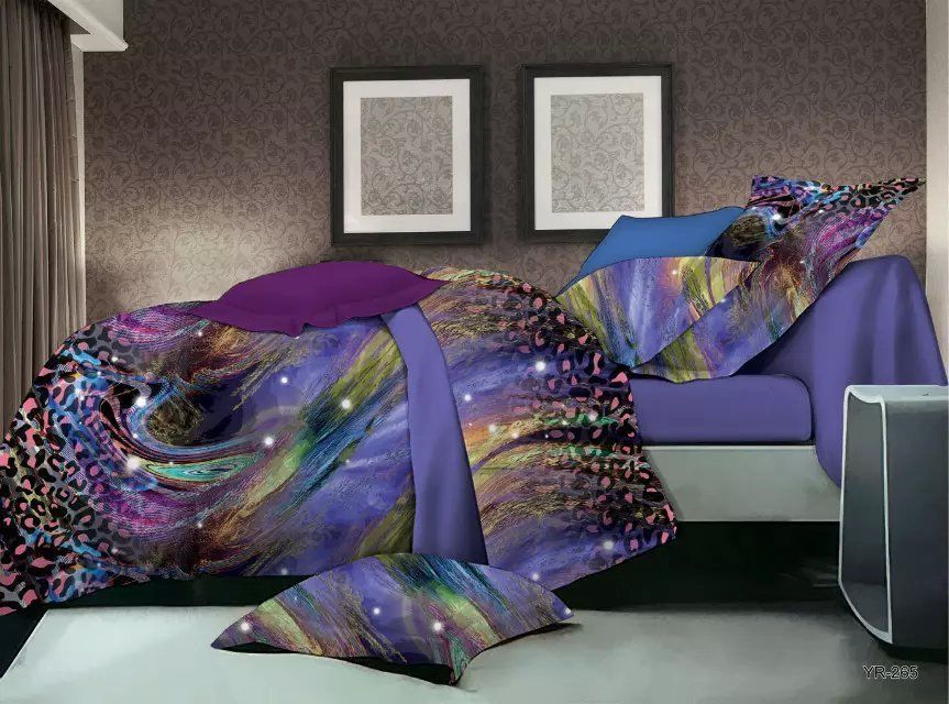 3d Abstract Universe Peacock Purple Bedding Duvet Cover