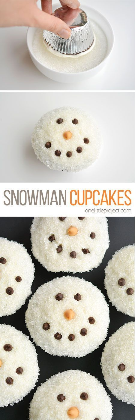 These easy snowman cupcakes would be PERFECT for a winter birthday party, a Christmas party, or just a fun baking activity with