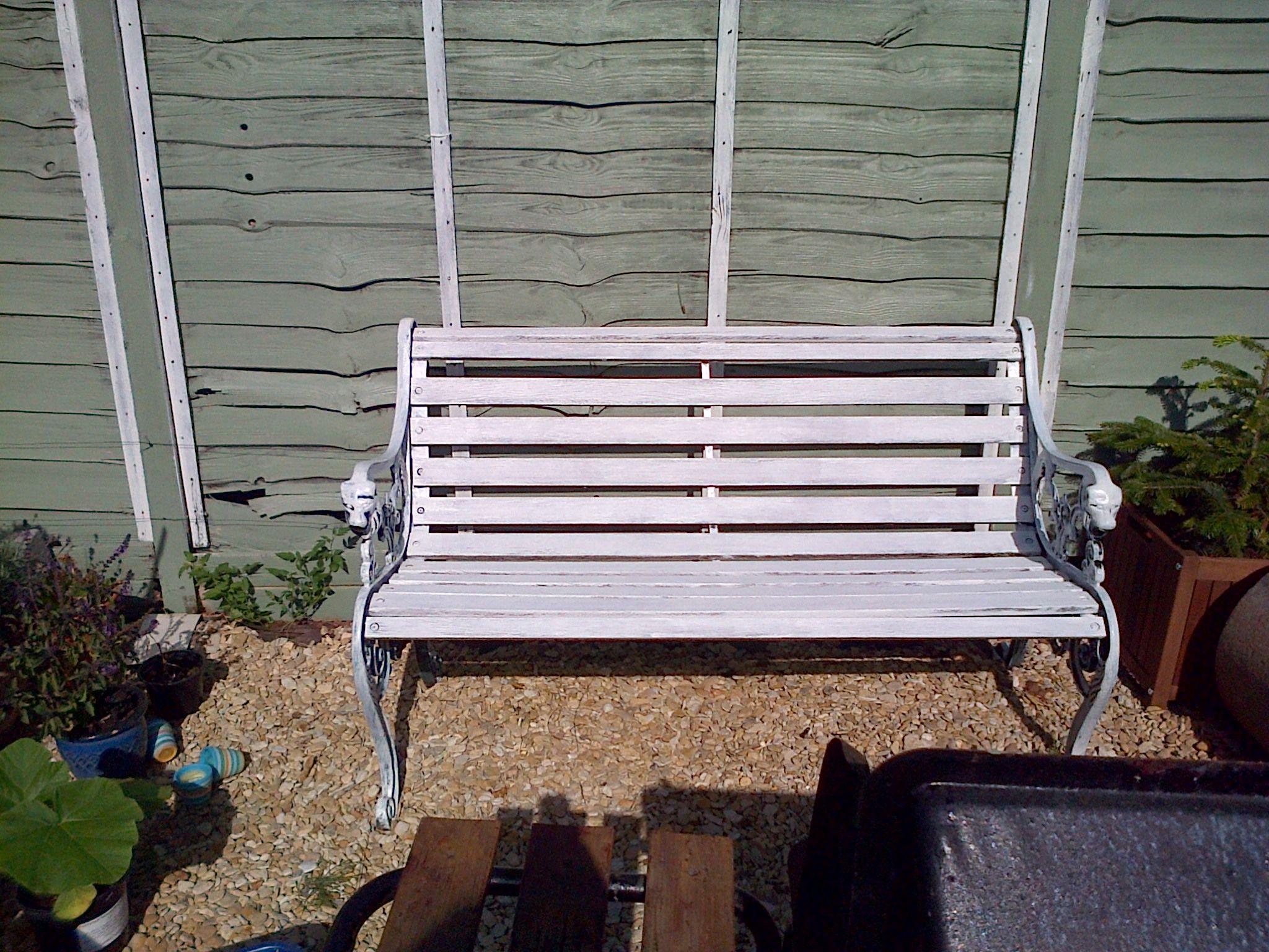 From my own garden. Bench painted with Cuprinol Garden