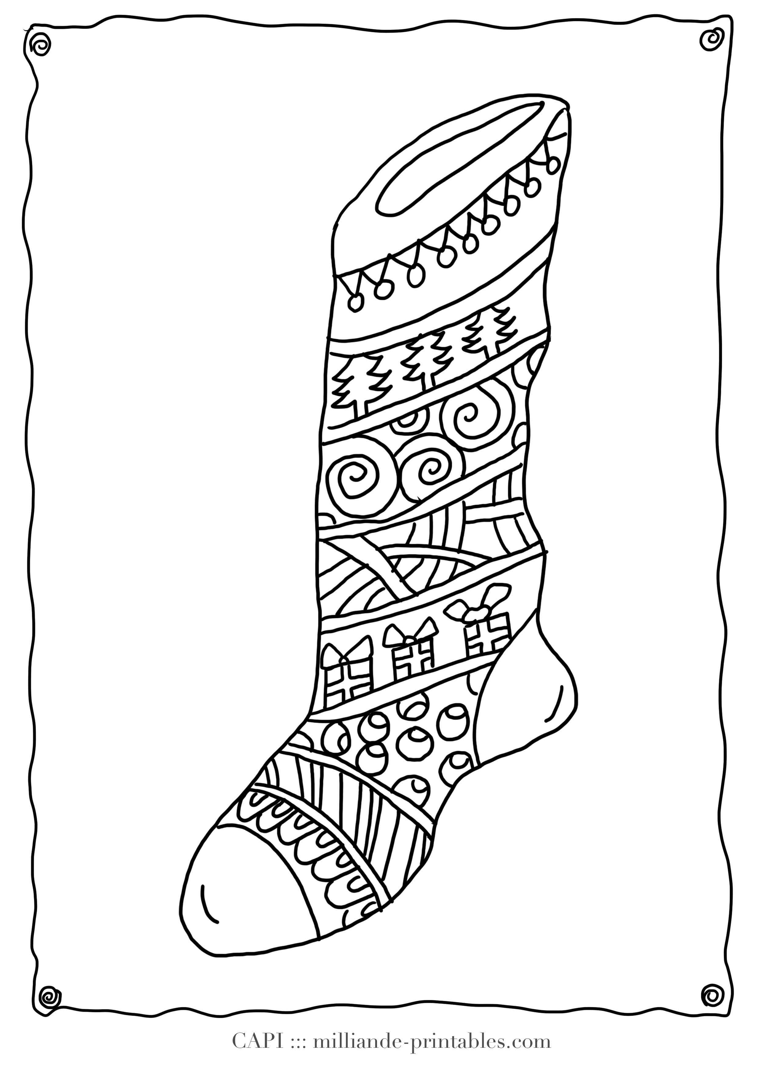 Christmas Coloring Page Stocking , Milliande's Original