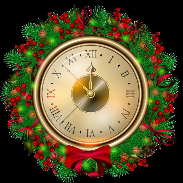 Transparent Christmas Clock PNG Clipartt Christmas