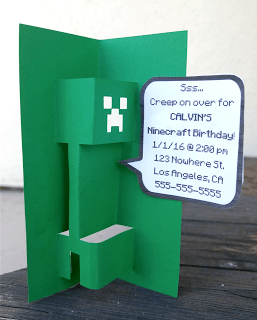 FREE DIY 3D Popup Minecraft Creeper SVG Template for Cards