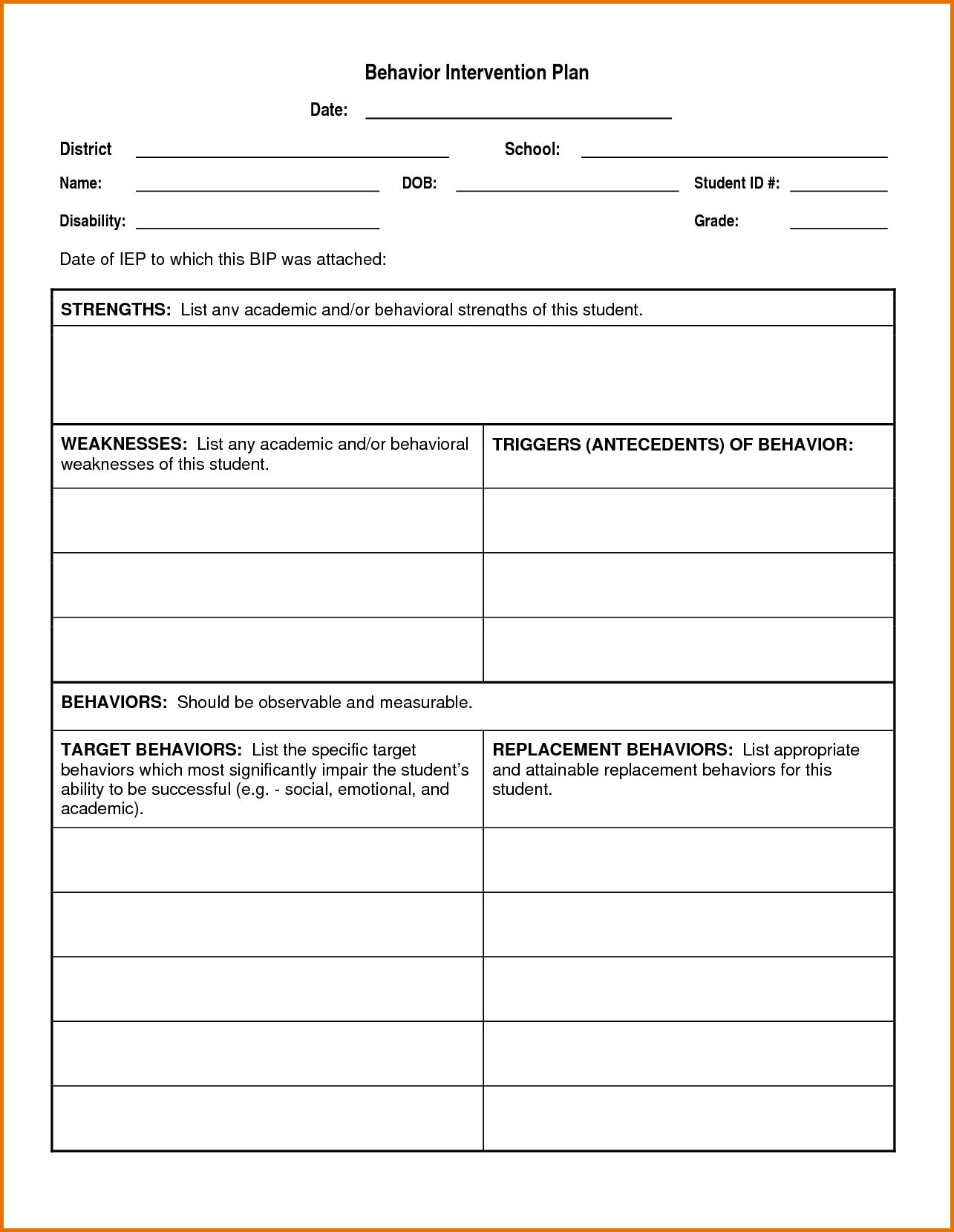 Behavior Intervention Plan Template Behavior Intervention