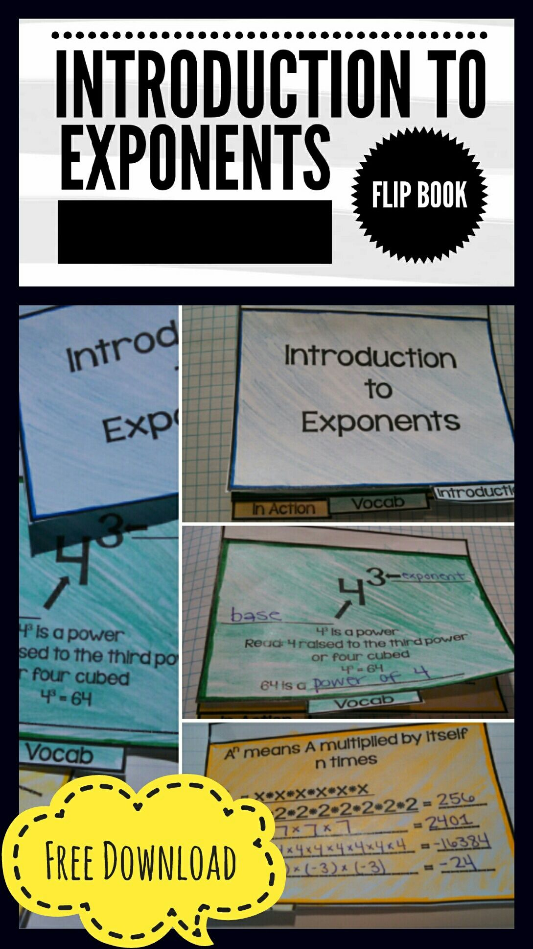 Free Printable Introduction To Exponents Flip Book Easy