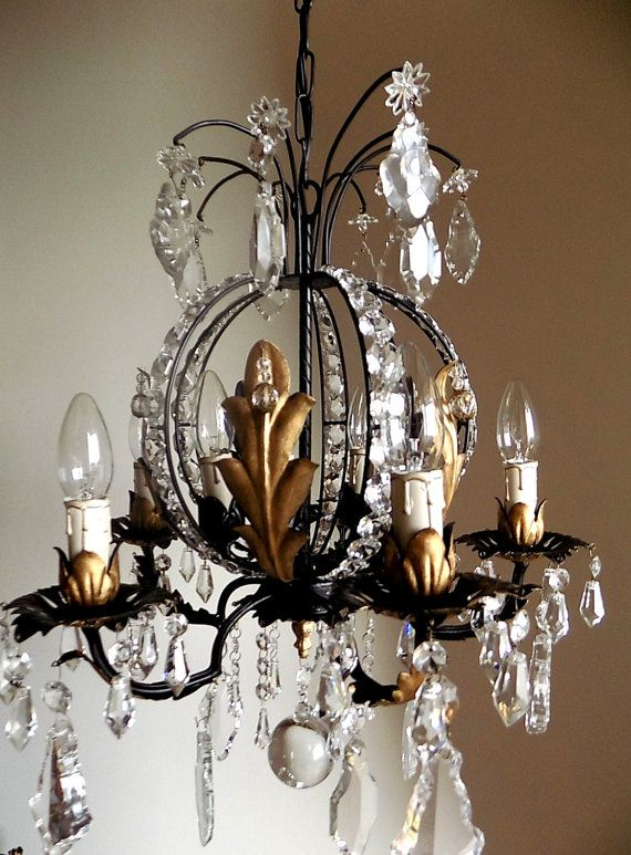 1940 French Vintage Chandelier Gilt By Milanchicchandeliers