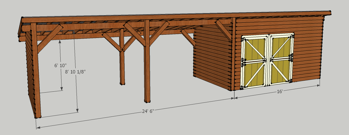 Storage Shed with Carport Should be able to put about 5