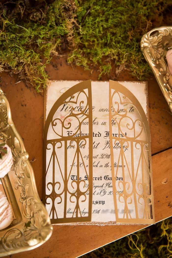 Detailed gold invitation from Vintage Enchanted Garden