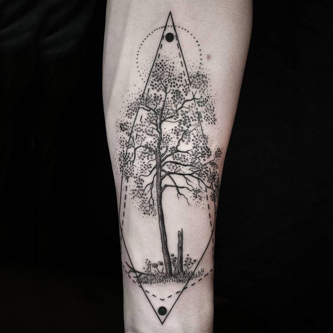 Tree Arm Tattoo Geometry tattoos Pinterest Arm