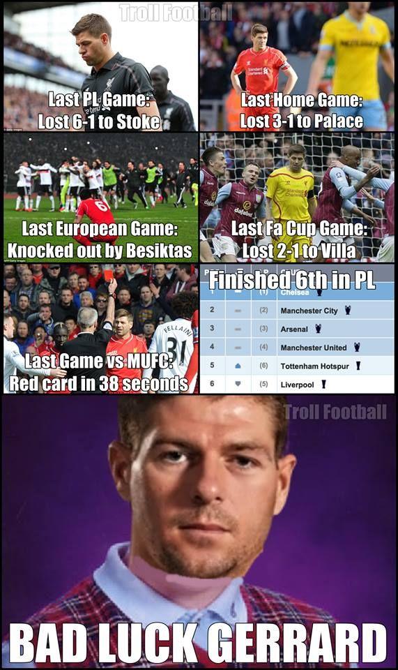 """Gerrard's last season with Liverpool FC"""" Football jokes"""