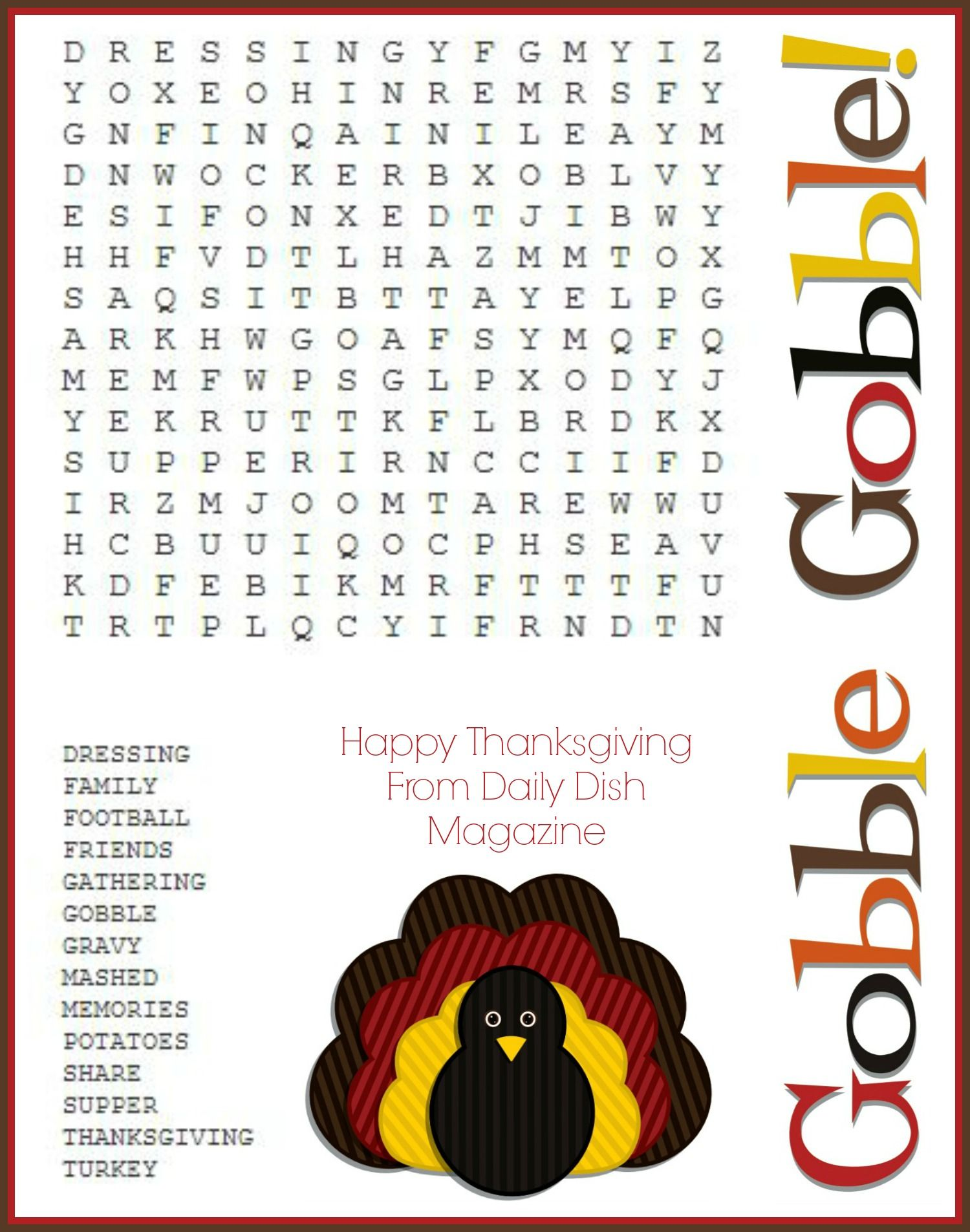 Free Thanksgiving Puzzles Word Search And Maze Printable