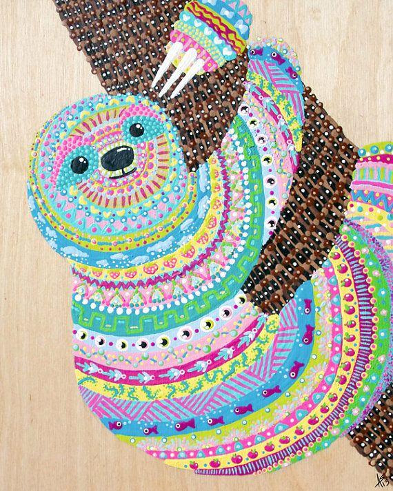 Tribal Sloth Art Print Colorful Sloth Wall Art Rainbow