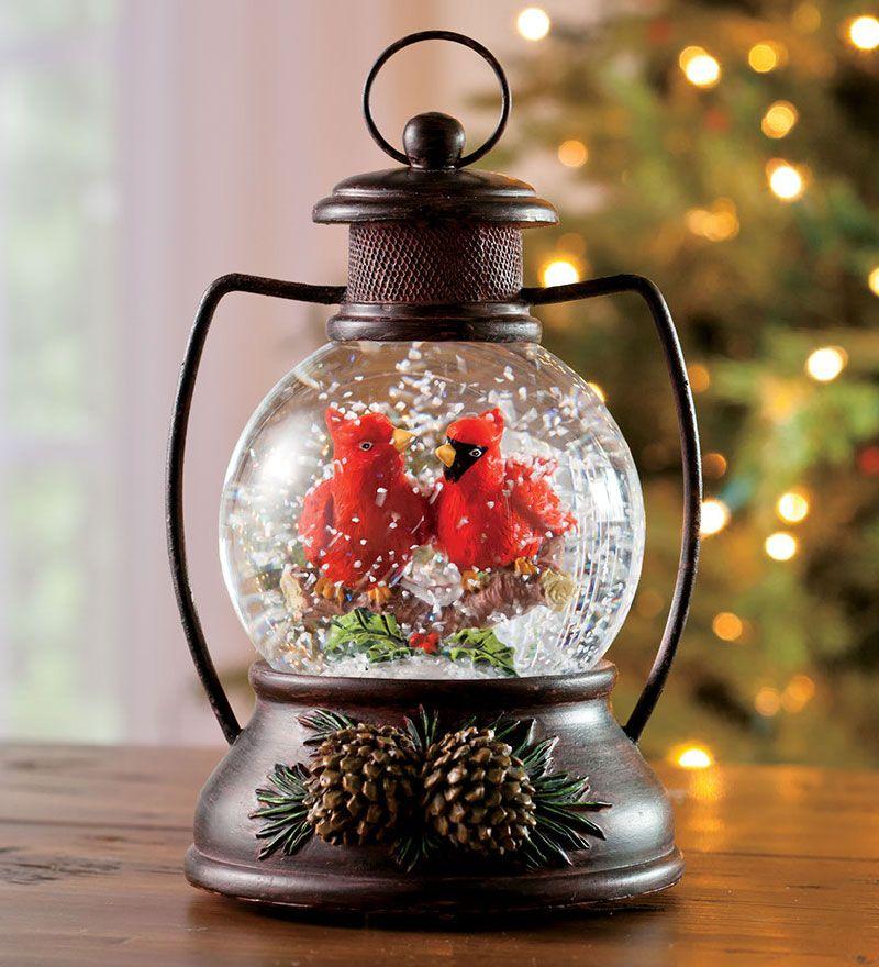 Musical Snow Globe Lantern with Cardinals cardinal